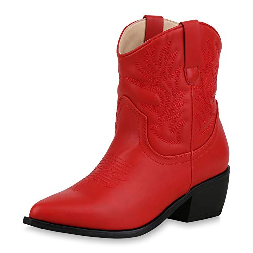 SCARPE VITA Damen Stiefeletten Cowboy Boots Western Schuhe Stickereien Stiefel 173335 Rot 39