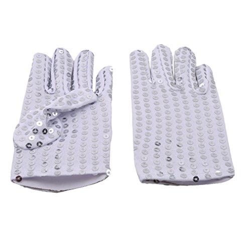 lnlyin Kinder Pailletten Handschuh Sparkly Pailletten Fancy Kleid Party Handschuh Cosplay Kostüm, Silber, Einheitsgröße