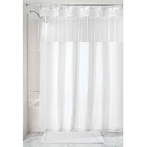 Interdesign 26621EU Rideau de Douche en tissu avec Fenêtre transparente pour Salle de Bain Blanc/Transparent Polyester 183x0,254x183 cm