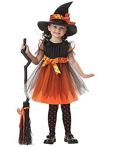 (ShiyiUP Halloween Mädchen Kostüm Karneval Fasching Bekleidung Kinder Hexen Fledermaus Kleidung ,Gelbe Hexe,110)