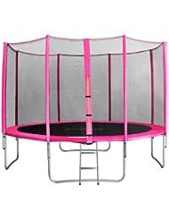 SixBros. Sixjump 4,00 M Trampoline de jardin rose Certifié par Intertek / GS - Filet de sécurité - Échelle - Housse de protection - CST400/L1742