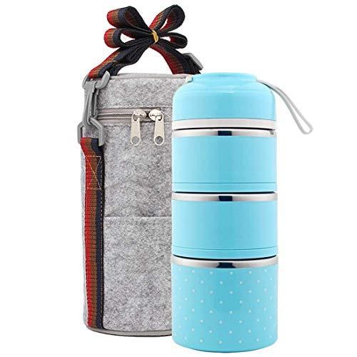 Wärmeisolierter Lebensmittelbehälter, Edelstahl-Lunchbox mit isolierter Lunch-Tasche, Tragbare Bento-Lunchbox mit Griff, Geeignet für Kinder Erwachsene,Blue - Thermoskanne-leak-proof-reise-becher