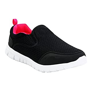 Airtech Womens Ladies Twin Gusset Slip On Go Walk Girls Casual Breathable Mesh Fitness Gym Sports Running Trainers Shoes UK Sizes 3-8 (UK 5, Black/Fuchsia)