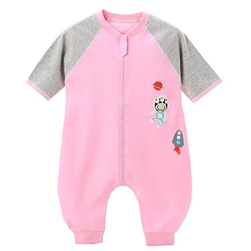 erschlafsack Kurzarm Pyjama Baby Mädchen Jungen Schlafsack Kleine Kinder Schlafanzug mit Füße, Pink, 90/Koerpergroesse 80-90cm ()