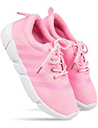 DRUNKEN Women's Sports Shoes, Shoes for Womens, Running, Yoga, Walking, Badminton, Sneakers, Casual, Gym Wear, Tennis, Basketball Shoes, Pink Mesh Shoes for Girl's