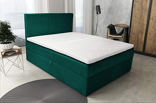 Best For Home Boxspringbett S Deluxe mit Bettkasten und Luxus 7-Zonen Taschenfederkernmatratze oder Bonellfederkernmatratze in Härtegrad H2, H3, H4 viele Größen (Dunkelgrün, 160 x 200 cm)
