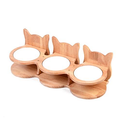 High-esstisch (XYLXX Esstisch Aus Keramik Mit DREI Schüsseln - Pet High Table - Umweltschutz Mit DREI Schüsseln Aus Holz Hundenapf)