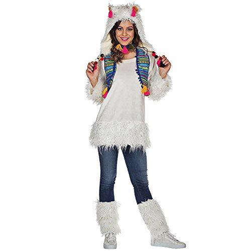Für 2 Lama Kostüm - Rubie's Damen Kostüm Alpaka Lima Weiß Lama Tier Peru Fasching Karneval (34)