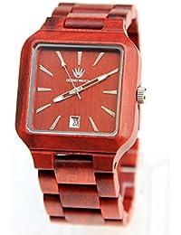 Madera de madera de madera de la alta calidad de los hombres de los modelos femeninos del reloj de madera reloj simple del varón del reloj del rojo del sándalo de la manera simple