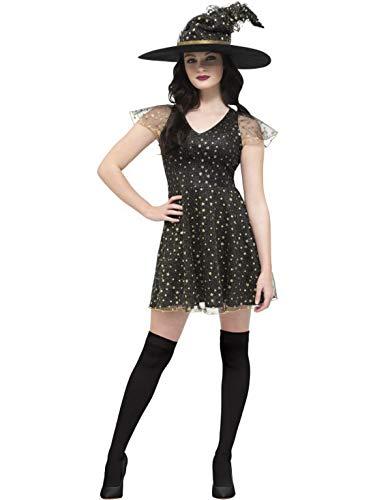 Hexe Damen Glamour Kostüm - Halloweenia - Damen Frauen süßes Glamour Hexen Witch Kostüm im Sternen Design, Kleid mit Spitze und Hut, perfekt für Halloween Karneval und Fasching, M, Schwarz