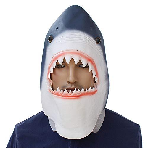 Blau Hai Kostüm - BaronHong Cosplay Maske Latex Helm Dekoration Thema Party Requisiten Halloween Kostüm Zubehör Erwachsene für Hai (blau, M)