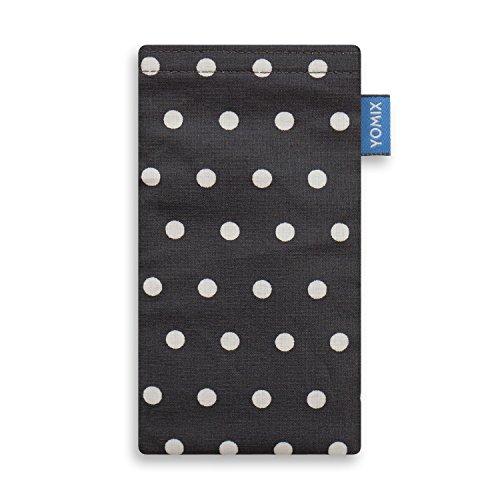 YOMIX Handytasche | Tasche | Hülle GUNILLA rot für Apple iPhone 6 / 6s / 7 aus beschichteter Baumwolle mit genialer Display-Reinigungsfunktion durch Microfaserinnenfutter GUNILLA grau