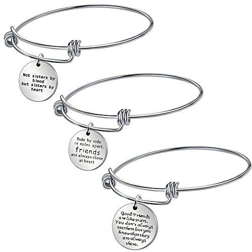 AGR8T - Juego de pulseras colgantes para mejor amiga, joyería para mujer, regalo de aniversario, cumpleaños, acero inoxidable, 3 piezas