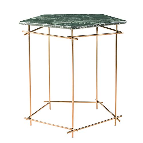 Yloty Marmortisch, Moderne Wohnzimmer Metall Beistelltisch Couchtisch Snack Tisch Balkon Freizeit Tisch Pentagon Marmor Oberfläche Green