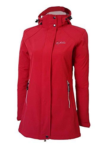 Dry Fashion Damen Softshell Mantel Sylt Regenmantel Parka Funktionsmantel Kapuze, Farbe:rot, Größe:52