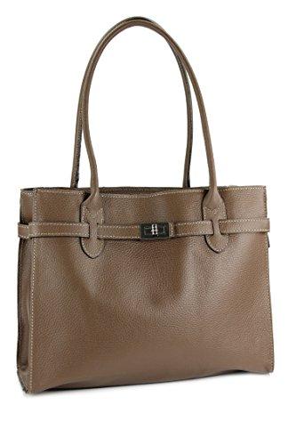 BELLI® klassische italienische Leder Handtasche Schultertasche - freie Farbwahl - 35x27x15 cm (B x H x T) Schlamm