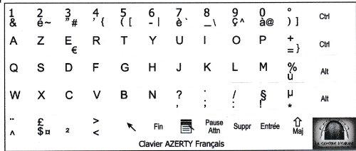 Pegatinas para teclado francés AZERTY 10 x 11 mm