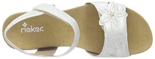 Rieker K2252, Sandales Bride cheville fille Blanc - Weiß (ice/silver / 91)