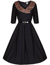 Lindy Bop 'Winnie' Millésime 40's 50's Inspirée Noir Robe de Swing