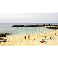 "Alu-Dibond-Bild 100 x 60 cm: ""Playa en Costa Teguise, Lanzarote, Islas Canarias"", Bild auf Alu-Dibond"