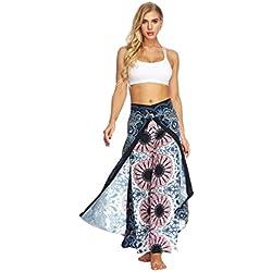 DOGZI Mujer Pantalones Estilo Indonesio Tailandés Aladdin Impresión Digital Pantalones Flojos De Pierna Ancha Bohemia Pantalones De Yoga Bombachos Harén con Colores Sólidos Pantalones (M, Rosa)