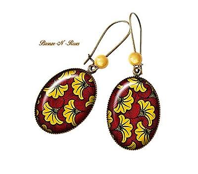 Boucles d'oreilles wax jaune et rouge bijou femme cabochon Afrique ethnique