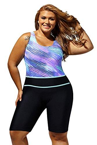 Lukis Damen Bademode Schwimmanzug mit Bein Hotpants Blau 2XL Bust 96-104cm