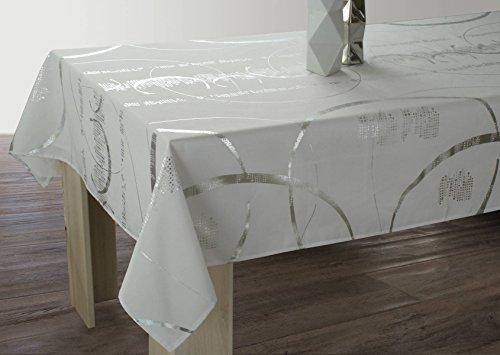 Le linge de Jules Nappe Shiny - Entretien Facile Blanche - taille : Rectangle 150x350 cm
