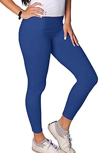 Élégance des femmes de plus extra taille élégance pleine longueur leggings allongement élastique plaine de viscose(ref:2190 viscose) indigo bleu
