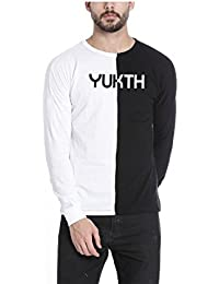 Yukth Men's Full Sleeve Self Designed Cut & Sew Round Neck T-shirt