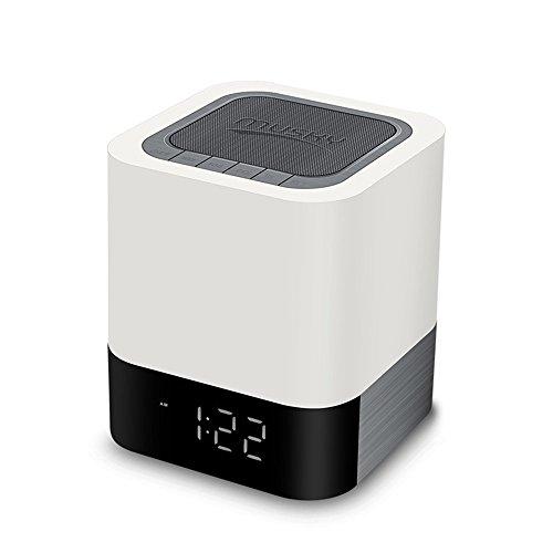 Signstek Nachtlicht Wireless Bluetooth Lautsprecher mit Wecker Funktion, Touch Sensor Nachttischlampe, MP3-Player, USB und AUX Accessible