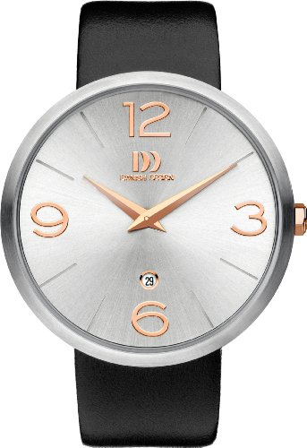 Danish Design Men's Quartz Watch with Silver Dial Analogue Display and Black Leather Strap DZ120322