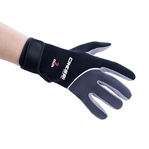 Cressi Unisex- Erwachsene Tropical Gloves Handschuhe für Wassersport in Amara und Neopren 2mm, Schwarz/Grau, L