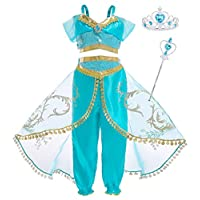 AmzBarley Princess Jasmine Costume Dress up Outfits for Girls Kids Arabian Halloween Party Dance Fancy Dress Childs Birthday Holiday Pageant Clothes