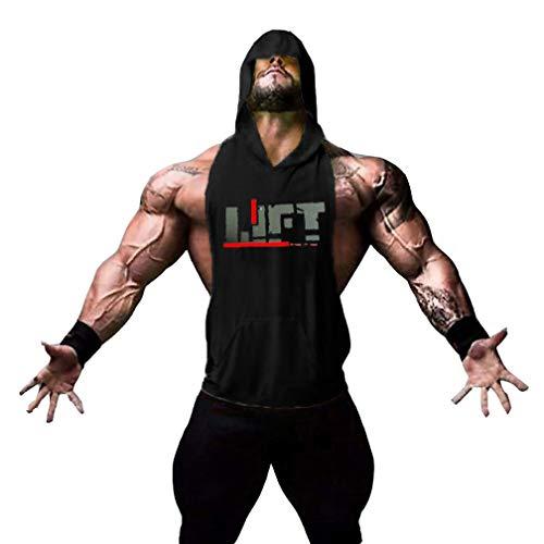 Befox Herren Stringer Fitness Gym Shirt Herren Tank Top Lift T-Shirt mit Kapuze Weste Muscleshirt Print Sport Vest Kapuzen-weste