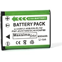 Maxsima - Camera battery LI40b Li-40b LI-42b Li42b for OLYMPUS mju 700, 720 SW, 725 sw, 730 sw, 740, 750, 760, 770 sw, 780, 790 sw, 795 sw, 820, 830, 840, 850 SW, 840, 1040, 1050 sw, 1060, 1200, 7010, SP-700, X-15, X-600, X-730, X-785, X-790, X-795, X-800, X-820, X-835, X-845, X-855, X-875, X-905, X-915.