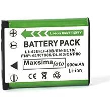 Maxsima–D-LI63, D-LI108, alta salida–900mAh batería de repuesto para PENTAX Optio