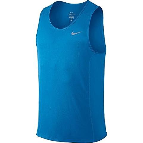 Nike - NIKE DF MILER SINGLET - Maillot - Bleu - 2XL - Homme