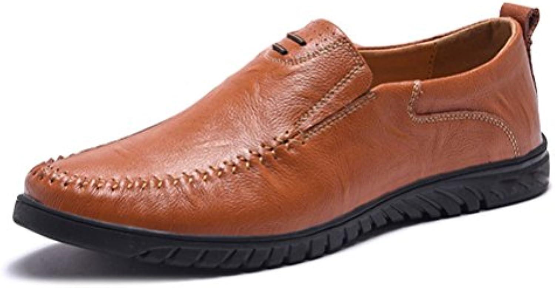 DHFUD Hombre Juventud Moda Desenfadado Perezoso Senderismo Al Aire Libre Zapatos De Cuero
