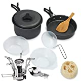 Tanburo camping Cookware Mess kit con fornello a gas e mesh bag 10 pz portatile e durevole cucina all' aperto attrezzature leggero ciotola pot set per escursioni hiking e Bug out bag