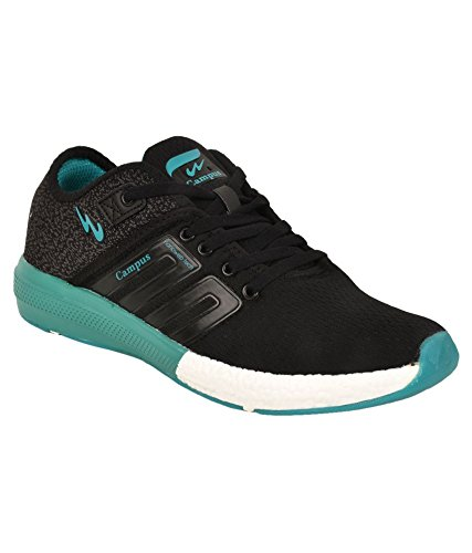 Campus Men's Black and T. Blue Running Shoes (Battle 3G-478) (9 UK)