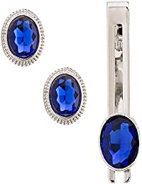 Sanjog Cocktail Party Blue Stone With Silver Crystals Cufflink With Matching Tie Pin for Men Gift Pack
