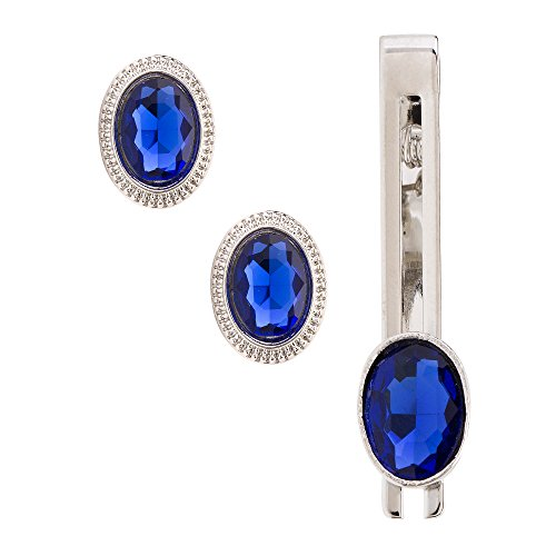 Sanjog Cocktail Party Blue Stone With Silver Crystals Cufflink With Matching Tie...