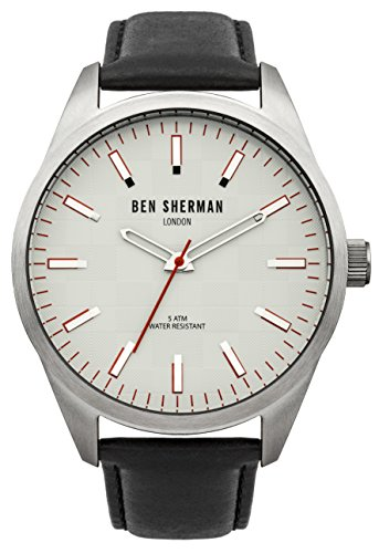 Ben Sherman Men's Quartz Watch with White Dial Analogue Display and Black Leather Strap WB007S