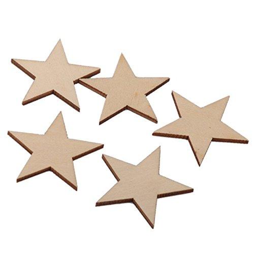 TOOGOO(R) 25 Stueck / Satz Holzsterne Form Kunst Haengenden Etikett, Sterne Hochzeit Gefaelligkeiten. Brautdusche Gunst Etikett. Stern mit Loch Geschenkanhaenger