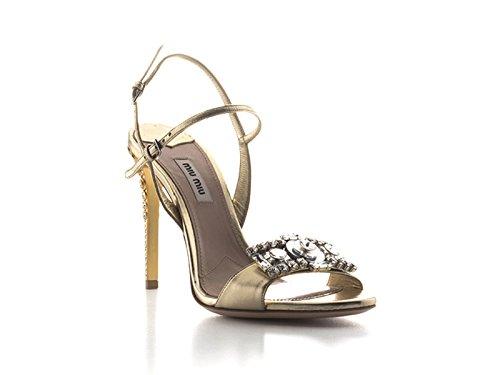Sandales à talons hauts Miu Miu en cuir Platine - Code modèle: 5X9724 XWU F0846 Platine