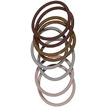 Les Plaisirs de Stella - Lote de 8 gomas elásticas para el pelo (silicona), color marrón y gris