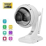 FLOUREON 1080P Dome IP Kamera PTZ Überwachungskamera, ONVIF P2P IP Cam, Nachtsicht Wasserdicht Sicherheitskamera, IR-Cut Bewegungsmelder (SD13W) (SD13W)
