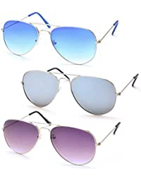 Stacle UV Protected Aviator Sunglasses For Men and Women (ST5203|58|Blue, Silver and Violet Combo)