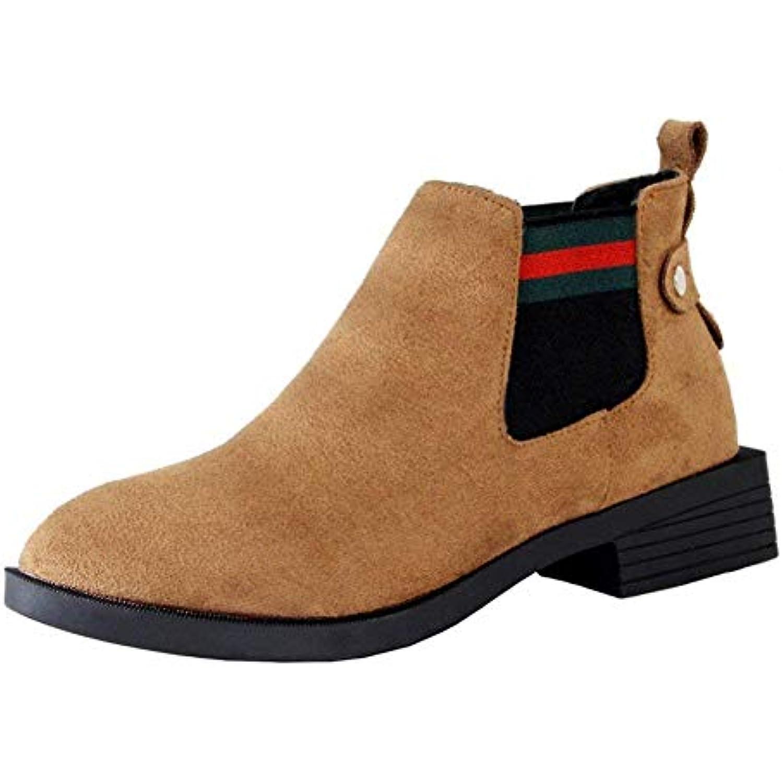 DEED Mesdames Courtes Bottes rétro élastique Plat Plat Plat Fond Loisirs Chaussures Quotidiennes pour Les étudiants - B07H9XR6MJ - 633888